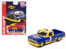 "1973 Chevrolet Cheyenne Pickup Truck #7 ""Sunoco"" Dark Blue and Yellow Limited Edition to 4800 pieces Worldwide 1/64"