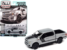 "2019 Ford F-150 XLT Sport Pickup Truck Iconic Silver Metallic with Black Stripes ""Muscle Trucks"" 1/64"