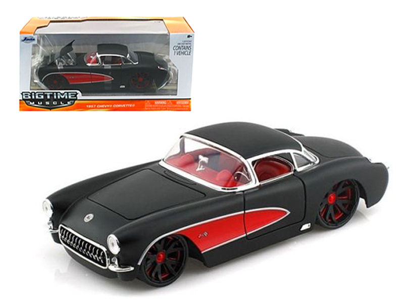 1957 Chevrolet Corvette Hard Top Primered Black With Red (1:24), Jada Item Number 90935BK