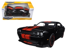 2015 Dodge Challenger SRT Hellcat Black with Red Stripes 1/24 by Jada