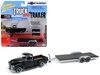 "1950 Chevrolet Pickup Truck Matte Black with Open Car Trailer Limited Edition to 6,016 pieces Worldwide ""Truck and Trailer"" Series 2 ""Chevrolet Trucks 100th Anniversary"" 1/64 Diecast Model Car by Johnny Lightning, Johnny Lightning Item Number JLSP021"