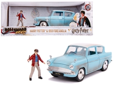 1959 Ford Anglia Light Blue (Weathered) with Harry Potter Diecast Figurine 1/24 by Jada
