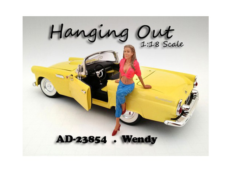 Hanging Out Wendy Figure (1:18 scale, pink with blue), American Diorama Figurine Item Number 23854